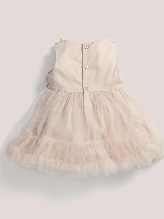 فستان مناسبات وردي ذو طبقة شبكية image number 2