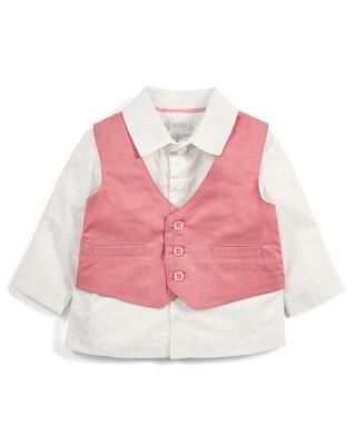 طقم قميص وفيست وردي - قطعتان