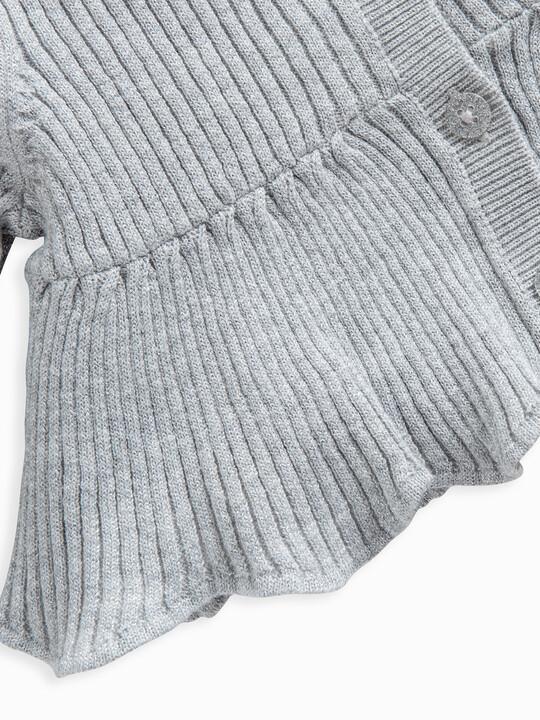 Metallic Knitted Peplum Cardigan image number 3