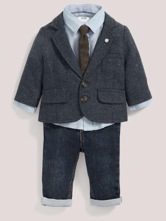 مجموعة سترة التويد والقميص ورابطة العنق وبنطال جينز للمناسبات image number 1