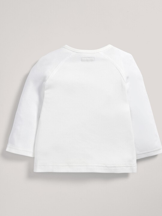 رداء علوي ملفوف من قماش البامبو الرقيق باللون الأبيض image number 4