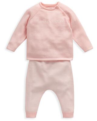 Cotton 2 Piece Pink Hello World Set