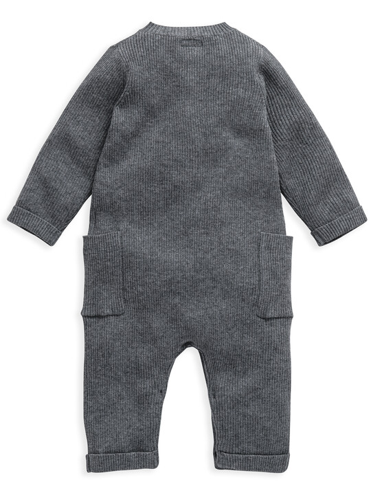 Grey Knitted Ribbed Romper image number 2