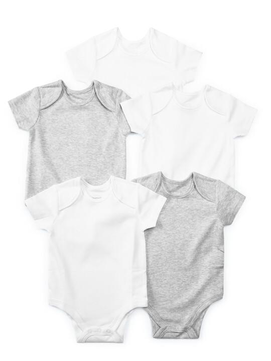 Grey Cotton Short Sleeve Bodysuits 5 Pack image number 1