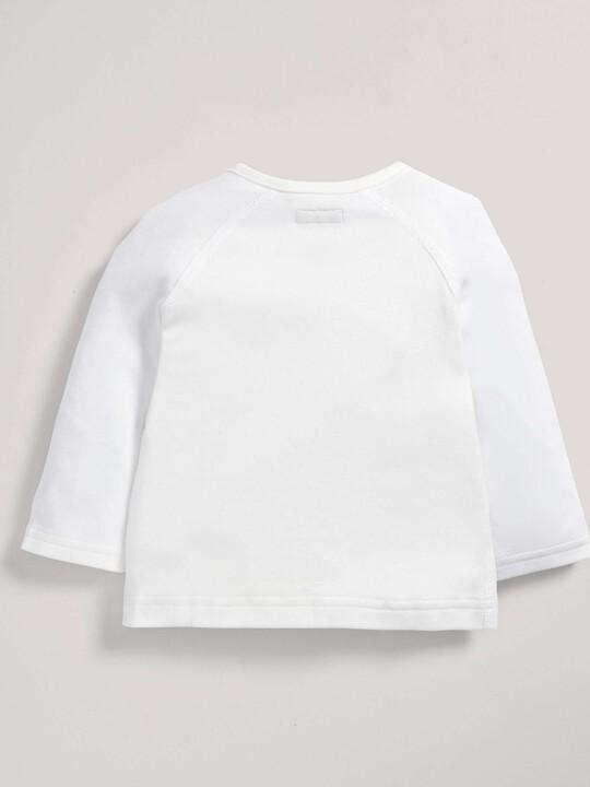 رداء علوي ملفوف من قماش البامبو الرقيق باللون الأبيض image number 2