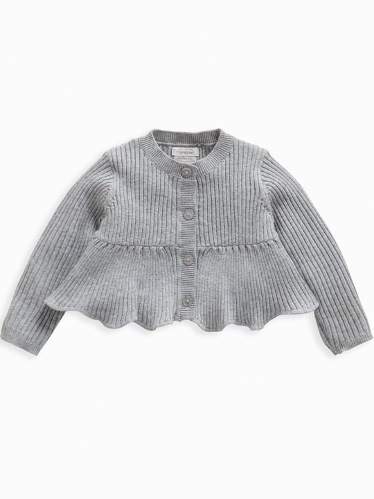 Metallic Knitted Peplum Cardigan image number 1