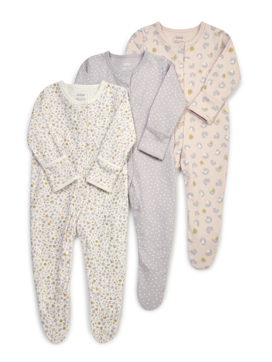 Leopard Print Jersey Cotton Sleepsuits 3 Pack image number 1