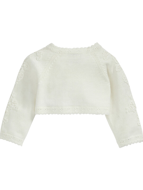 Lace Applique Detail Knit Cropped Cardigan Cream- New Born image number 5
