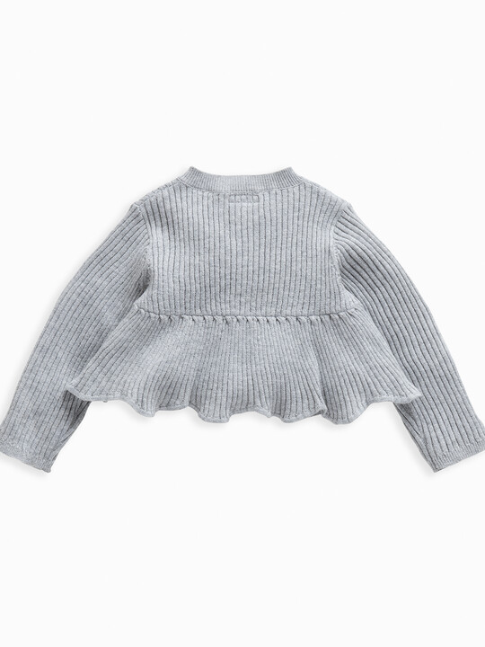 Metallic Knitted Peplum Cardigan image number 2