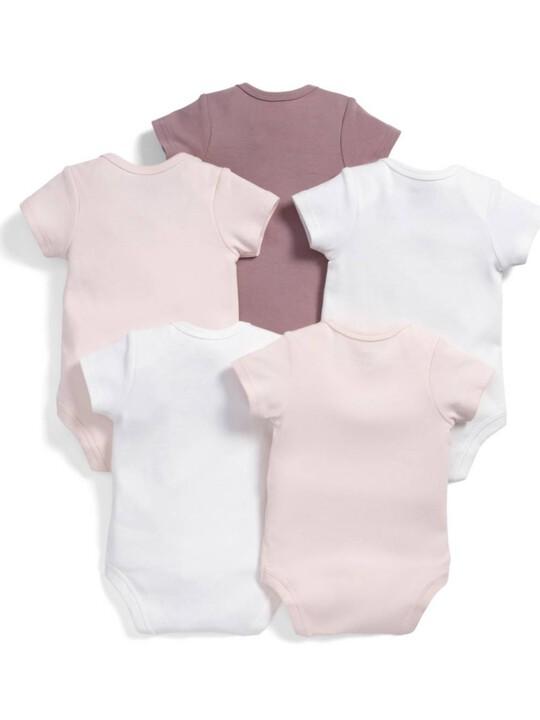 عبوة بها خمس قطع من البدلات قصيرة الأكمام المتنوعة باللون الوردي image number 2