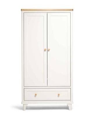 خزانة ملابس لوكا ببابين ودرج تخزين لغرفة الأطفال - بلوطي عاجي