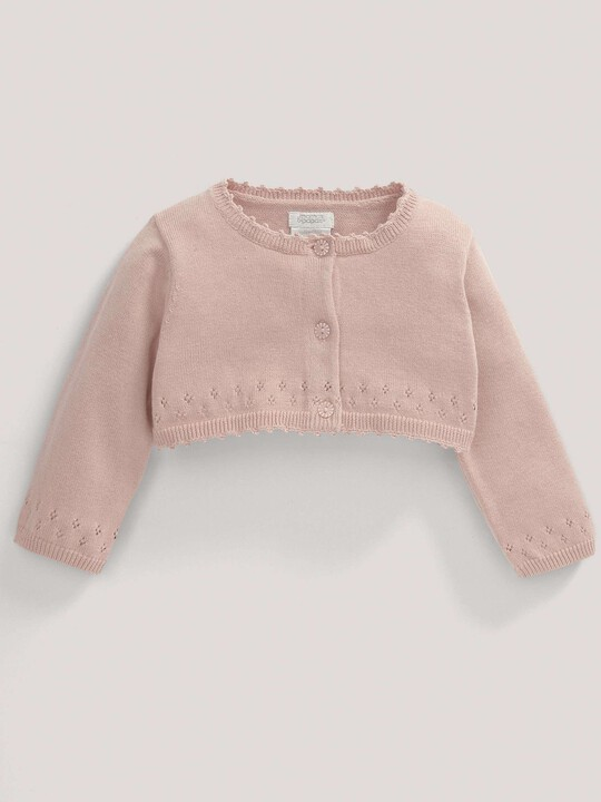 Pointelle Detail Knit Cropped Cardigan Pink- 0-3 image number 2