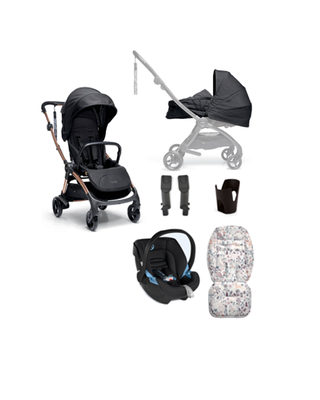 Airo 6 Piece Essentials Black Carrycot with Black Aton Bundle