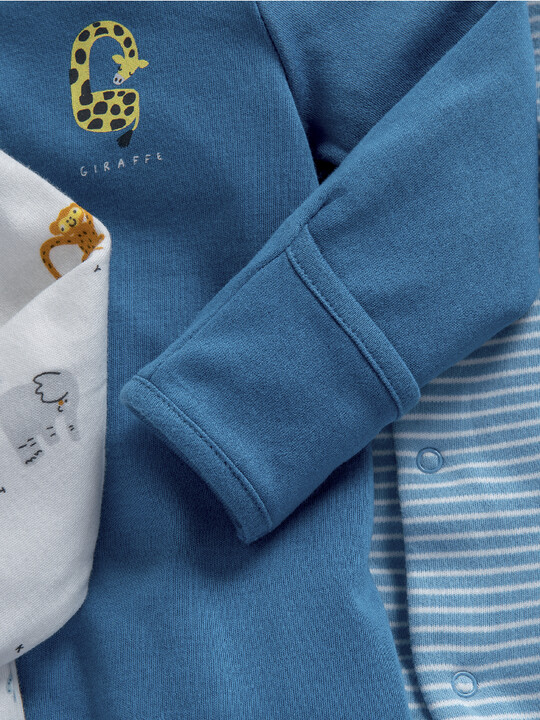 Animal Alphabet Jersey Cotton Sleepsuits 3 Pack image number 3