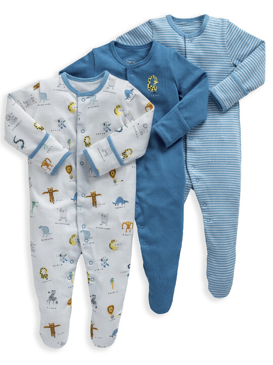 Animal Alphabet Jersey Cotton Sleepsuits 3 Pack image number 1