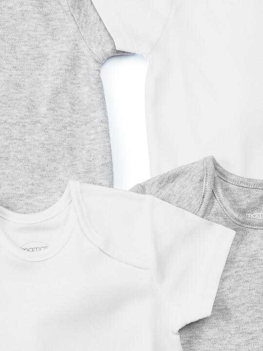 Grey Cotton Short Sleeve Bodysuits 5 Pack image number 2