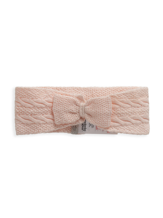 Pink Knitted Bow Headband image number 1
