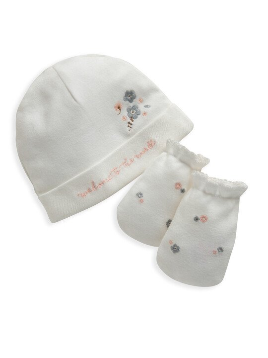 Floral Embroidered Hat & Mitts image number 1