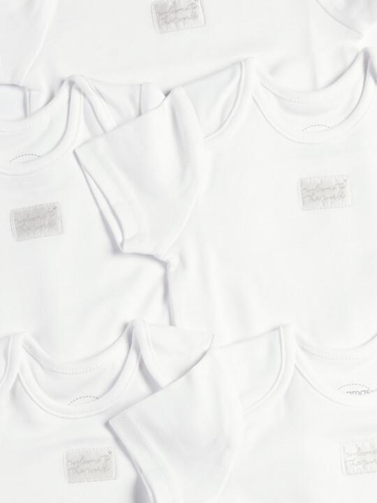 طقم لباس قطعة واحدة أبيض بأكمام قصيرة - 5 قطع image number 2