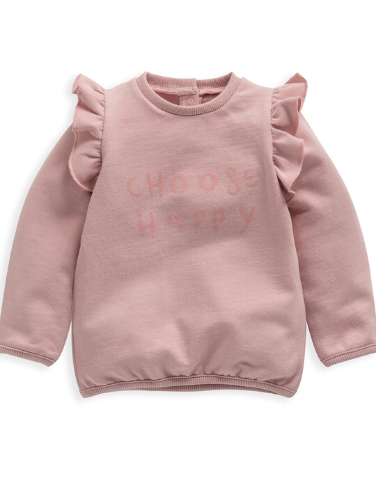 Choose Happy' Frill Sweater image number 1