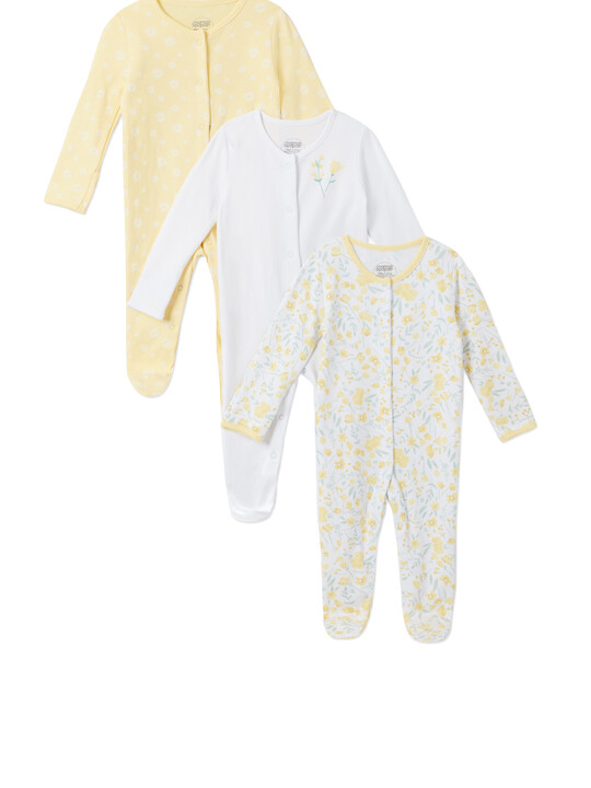 3Pack of  YELLOW FLRL Sleepsuits image number 1