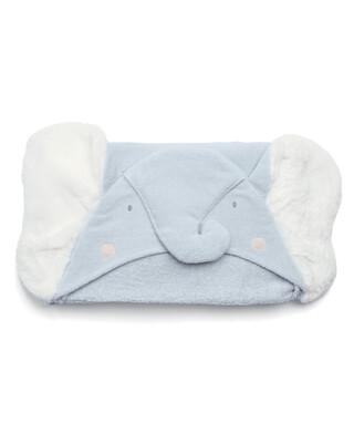 منشفة بغطاء للرأس بتصميم فيل أزرق