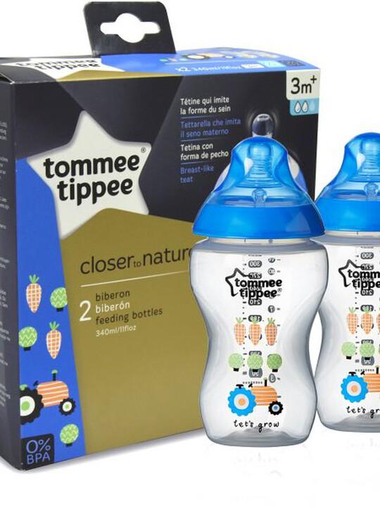 زجاجات رضاعة Closer to Nature المزينة من Tommee Tippee خالية من مادة BPA - عبوة من زجاجتين بسعة 340 مل - Easi-Vent - لون أزرق image number 1