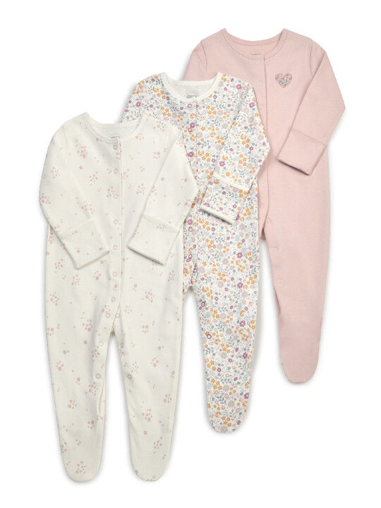 Floral Jersey Cotton Sleepsuits 3 Pack image number 1