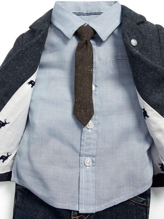 مجموعة سترة التويد والقميص ورابطة العنق وبنطال جينز للمناسبات image number 2