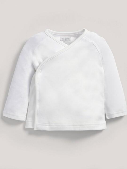 رداء علوي ملفوف من قماش البامبو الرقيق باللون الأبيض image number 3