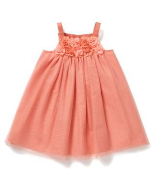 فستان قماش شبكي مزين بزهور