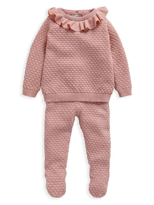 Pink Knitted 2 Piece Set image number 1