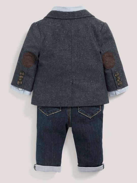 مجموعة سترة التويد والقميص ورابطة العنق وبنطال جينز للمناسبات image number 3