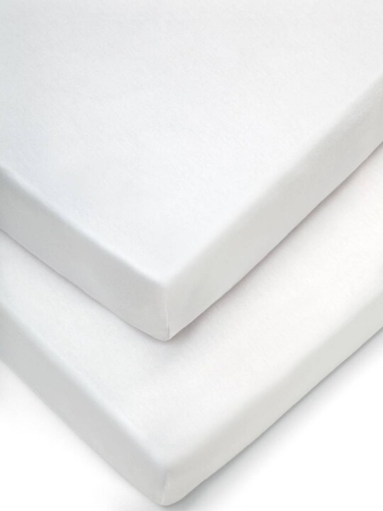 شرشف بحواف مطاطية أبيض - مجموعة من قطعتين (للمهد) image number 1
