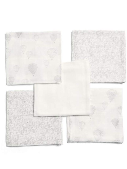 مجموعة مربعات موسلين بنقشة منطاد - 5 قطع image number 1